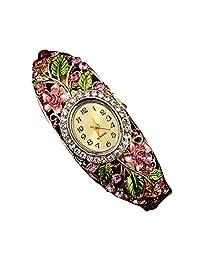 Women's Watch, ABC Women's Crystal Flower Bangle Watch Bracelet Quartz Wrist Watch