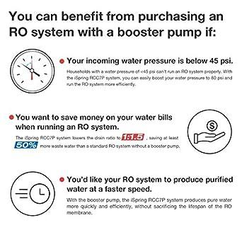 Sistema de filtrado de agua iSpring 75GPD de ósmosis inversa alcalino pH de 6 etapas con bomba potenciadora, modelo RCC7PAK: Amazon.es: Amazon.es