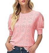 GRACE KARIN Womens Pullover Sweater Cute Puff Short Sleeve Tops Pullover Shirt Lightweight Knit S...