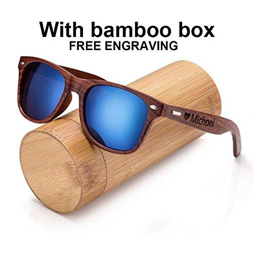 Awerise Personalized Walnut Wood Wooden Sunglasses UV400 Groomsmen Gifts (Sunglasses with bamboo box, Mirrored blue)