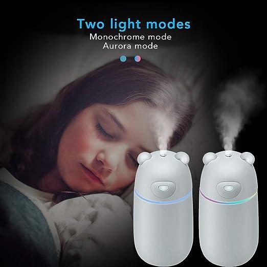 MANLI Humidificador Ambiental 300ML, Vaporizador Ultrasónico para Habitación con Conexión USB Luz LED para Hogar Oficina Coche Dormitorio Viaje Niños ...
