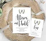 Rustic Wreath Wedding Invitation, Modern Wedding Invitation, Calligraphy Watercolor Wedding Invitation