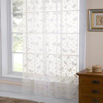 Emma Barclay Hathaway Jardin Lace Curtain Panel, White, 57 x 90 ...