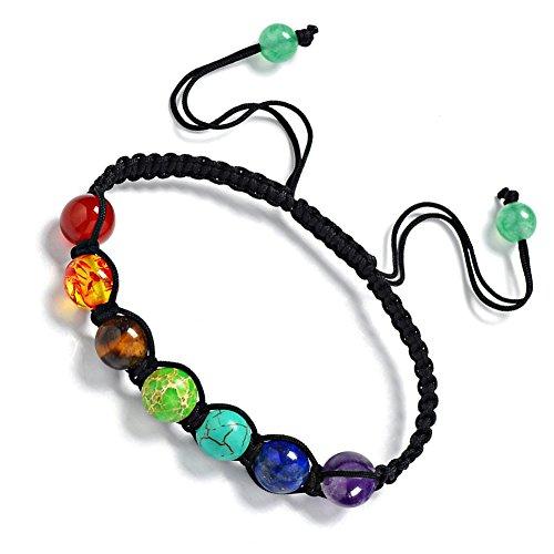 Leefi Womens Mens Beaded Bracelets Stone Lava Rock Healing Balance Round Braided Rope Energy Bracelets(7 Chakra)