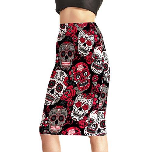 Fanii Quare Women's Elastic Casual Bodycon Print Midi Pencil Skirt Red Skull L for $<!--$15.68-->