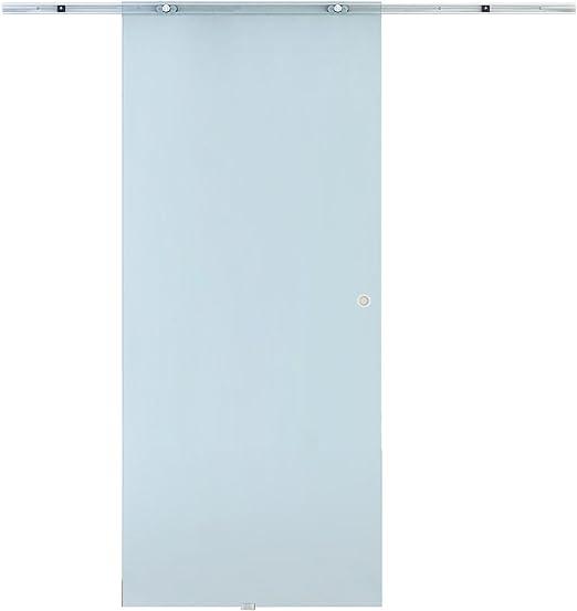 Homcom - Puerta corredera de cristal esmerilado con riel de aluminio, 90 x 205 x 0,8 cm: Amazon.es: Jardín