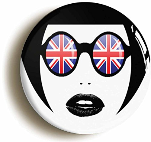 [Mod Sunglasses Girl Sixties Button Pin (Size is 1inch diameter) 1960s] (60s Mod Girl Costumes)