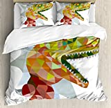 Ambesonne Reptiles Duvet Cover Set Queen Size, Multi Colored Mosaic Wild Trex Illustration Opens Mouth Jurassic Pixel Dinosaur Home Decor, Decorative 3 Piece Bedding Set with 2 Pillow Shams, Multi