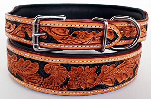 (ProRider Medium 17''- 21'' Puppy Dog Collar Tooled Carved 100% Cow Leather Amish 6022A)