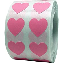 Pink Heart Stickers, 1.27 Centimetres (1/2 Inch) Wide, 1000 Labels on a Roll
