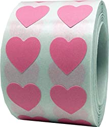 Pink Heart Stickers For Valentine's Day Crafting Scrapbooking 1/2 Inch 1,000 Adhesive Stickers