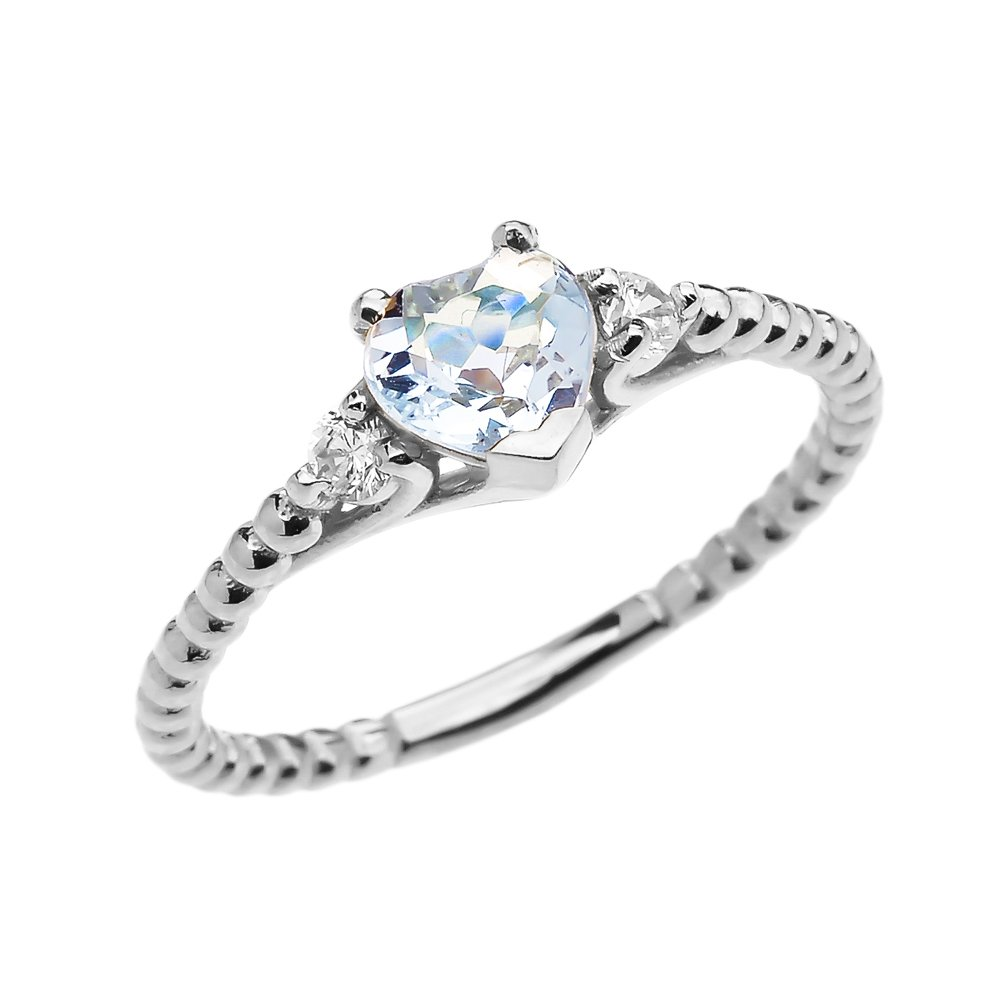 10k White Gold Dainty White Topaz and Heart Aquamarine Beaded Stackable/Promise Ring (Size 6)