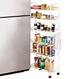 """Collections Etc Slim Rolling Pantry 6 Tier Shelf, 10"""""""