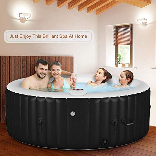 Goplus 4-6 Person Outdoor Spa Inflatable Hot Tub for Portable Jets Bubble Massage Relaxing with Accessories Set (4-Person, Black)