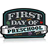 Bigtime Signs First Day of Preschool Sign Board Plaque Back to School Sign for use as Photo Prop for a Boy or Girl 10 inches x 15.5 inches (Pre K)
