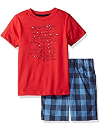 Nautica Boys' Graphic Tee with Plaid Short Two Piece Set