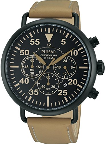 Pulsar PT3479 44mm Ion Plated Stainless Steel Case Brown Leather Mineral Men's Watch