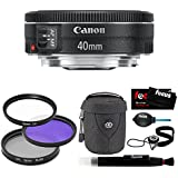Canon EF 40mm f/2.8 STM Lens Bundle with Tiffen 52mm UV Protector and Circular Polarizing Lens + Medium Lens Case + Accessory Kit