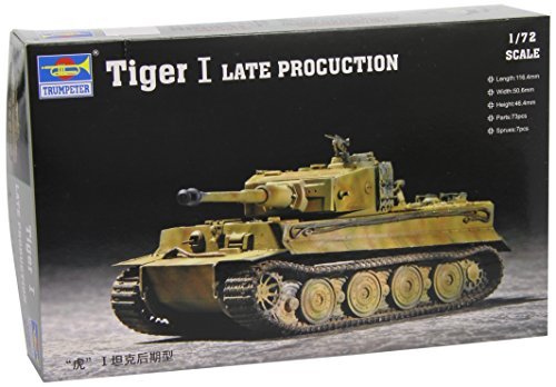 Trumpeter 07244 German Tiger I Late Production WWII Tank 1/72 Scale Model Kit ()