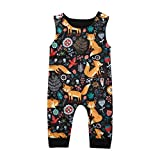 NUWFOR Newborn Infant Baby Girl Boy Cartoon Sleeveless Romper Jumpsuit Outfits Clothes(Multicolor,3-6 Months)