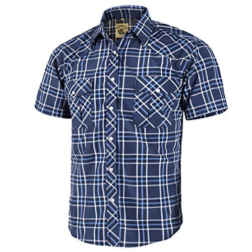 Coevals Club Men's Short Sleeve Casual Western Plaid Snap Buttons Shirt (XL, 11# Blue, Black) ()