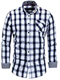 Neleus Men's Cotton Casual Plaid Long Sleeve Dress Shirt,158,Blue & White,L,EU XL