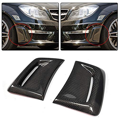 JC SPORTLINE C63 AMG CF Side Air Insert Vent Trim, fits Mercedes Benz W204 C63 AMG Facelift Sedan 2012 2013 2014 Carbon Fiber Front Fender Air Vent Panel Cover Trim Scoop Spoiler