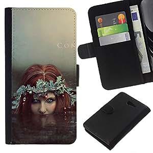KingStore / Leather Etui en cuir / Sony Xperia M2 / Hada Redhead Siren Water Witch sirena