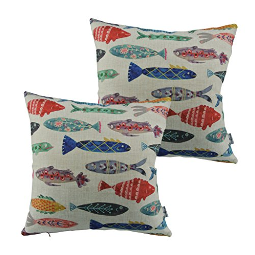 Thanksliving-2pcs-Marine-Fish-Pillowcase-Cushion-Covers-Cotton-Linen-Pillowcase-Cover-18-x-18-Inch45-x-45-Cm-Colorful-Fish