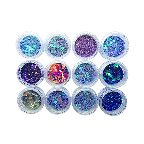 Allwon Body Glitter Cosmetic Makeup Eyeshaodw Glitters for Face Body Hair Nail Art,12pcs (Purple)