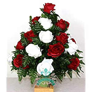 Beautiful XL Dark Red And White Roses Cemetery Flowers for a 3 Inch Vase 44