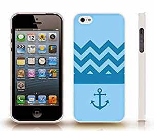 iStar Cases? iPhone 4 Case with Chevron Pattern Sky Blue/ Steel Blue Stripes Steel Blue Anchor , Snap-on Cover, Hard Carrying Case (White)