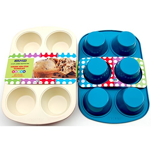 casaWare Ceramic Coated Non-Stick 6 Cup Jumbo Muffin Pan (Cream/Blue) ()