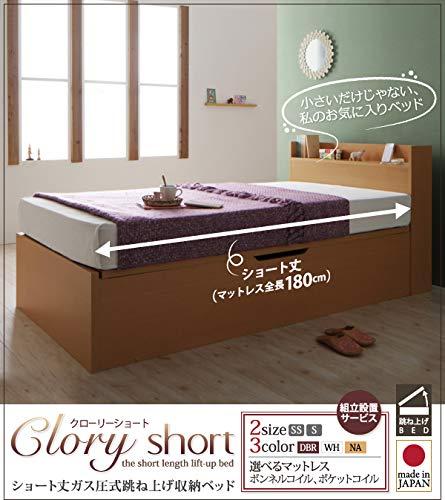 お客様組立 国産跳上げ収納ベッド Clory Short クローリーショート 薄型プレミアムポケット B07GL85WLX