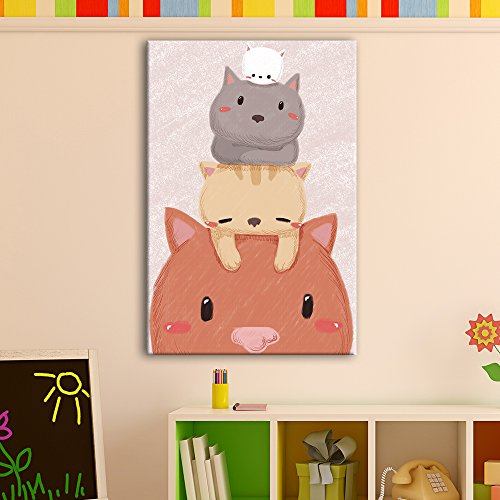 Cute Cartoon Animals Stack of Cute Kitty Cats Kid's Room Wall Decor