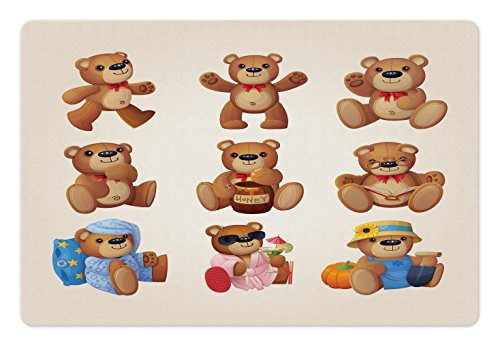 Ambesonne Cartoon Pet Mat for Food and Water, Cute Happy Toy Teddy Bears with Funny Different Faces Nostalgic Kids Design, Rectangle Non-Slip Rubber Mat for Dogs and Cats, Chocolate Cream by Ambesonne
