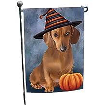 Happy Halloween Dachshund Dog Wearing Witch Hat with Pumpkin Garden Flag GF319