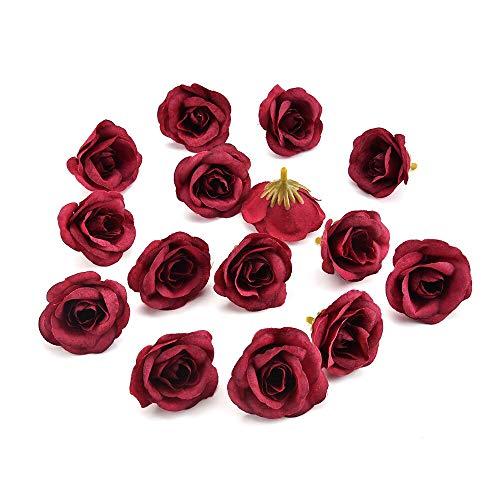 Artificial Flowers Heads Bulk 30pcs 4cm Silk Rose Artificial Flower Wedding Home Furnishings DIY Wreath Sheets Handicrafts Simulation Fake Flowers (red Wine)