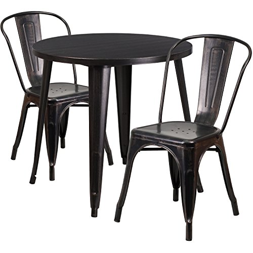 Flash Furniture 30 Round Black-Antique Gold Metal Indoor-Outdoor Table Set with 2 Cafe Chairs