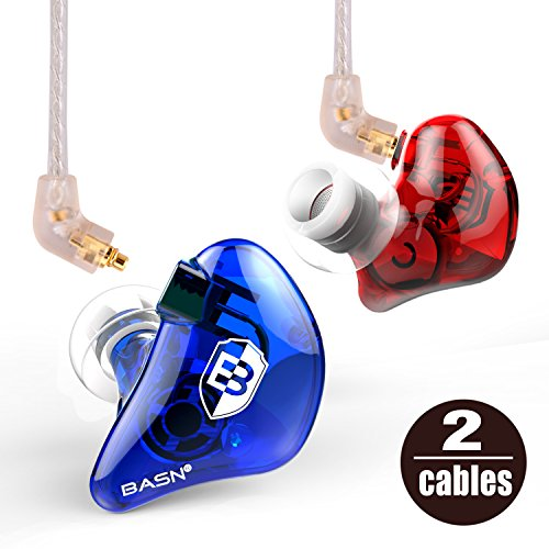 BASN Bsinger+LUX In-Ear Monitor, Dual Drivers Headphones (Earbuds/Earphones/ Headset) with MMCX Silver-Plated Cables, Noise-Isolating with Microphone and Remote (Red&Blue)