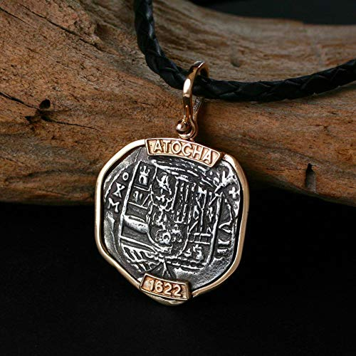 Coins from Genuine 100% Atocha Silver Shipwreck Replica Coin Pendant - Available in 14kt Gold or 925 Sterling Silver Frame - Includes Certificate of Authenticity ()