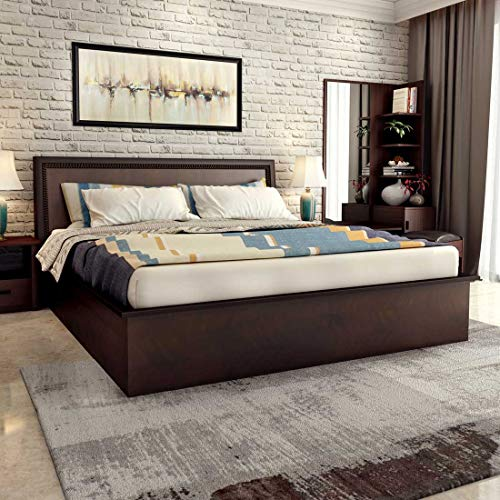 Durian Nina Engineered Wood Hydraulic King Bed with Mattress  Red