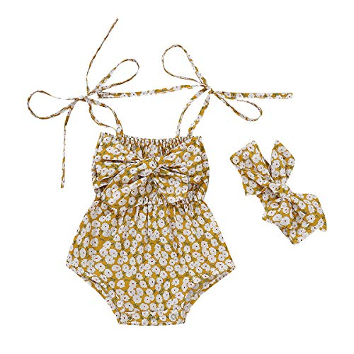 Yellow Floral Romper - ZOELNIC Baby Girls Sleeveless Romper Toddler Girl Floral Bow Halter + Headband (Yellow - 4,6-12 Months)