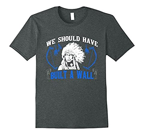 Men's We Should've Built A Wall Funny Native American T-Shirt XL Dark Heather (Native American Funny)