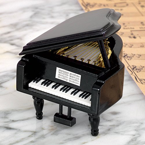 Bits and Pieces Mini Musical Grand Piano Music Box Plays Memories - Wooden Wind-Up Music Box Plays for Two Minutes