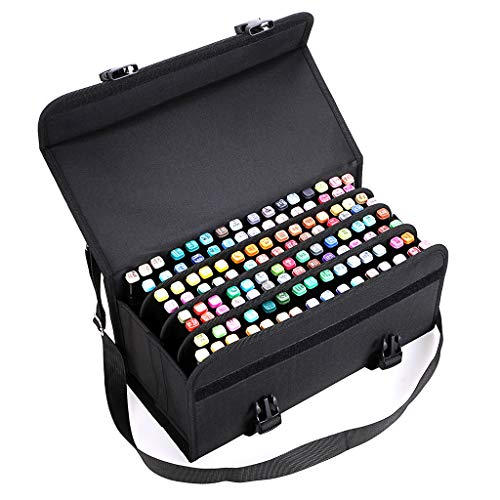 BTSKY New 120 Slots Marker Case Lipstick Organizer-Canvas Markers Holder for for Primascolor Markers and Copic Sketch Markers (Black) ()