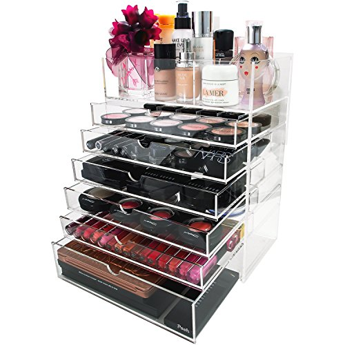 (Posh Organizers 7 Tier, 6 Large Drawers, Flip Top Tray with Removable Dividers Acrylic Makeup Organizer -)