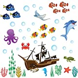 perfect octopus wall decals treepenguin Under The Sea Wall Decals for Kids Rooms – Cute Ocean Wall Stickers for Baby and Toddler Boys and Girls – Colorful Decor for Bedroom Bathroom and Nursery