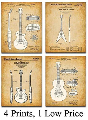 Original Gibson Guitars Patent Art Prints – Set of Four Photos (8×10) Unframed – Makes a Great Gift Under $ 20 for Guitar Players