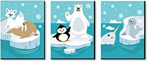 Big Dot of Happiness Arctic Polar Animals - Polar Bear, Seal, Penguin, Walrus, Narwhal and Arctic Fox Nursery Wall Art and Kids Room Decorations - 7.5 x 10 inches - Set of 3 Prints